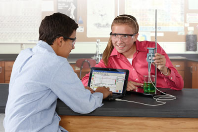 Students with science experiment